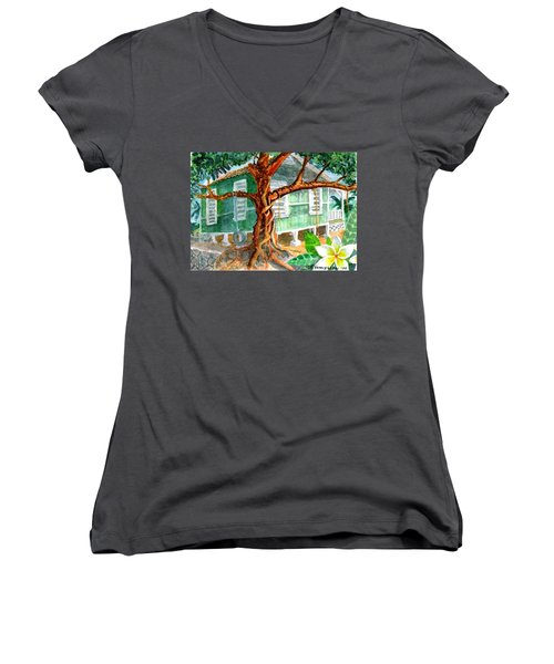 Women's V-Neck T-Shirt (Junior Cut) featuring the painting Banyan In The Backyard by Eric Samuelson