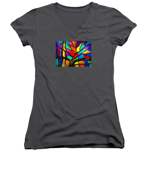 Banyan Tree Abstract Women's V-Neck (Athletic Fit)