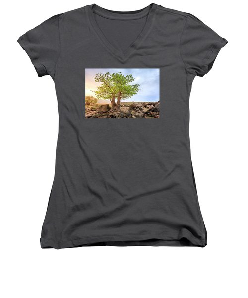 Women's V-Neck T-Shirt (Junior Cut) featuring the photograph Baobab Tree by Alexey Stiop