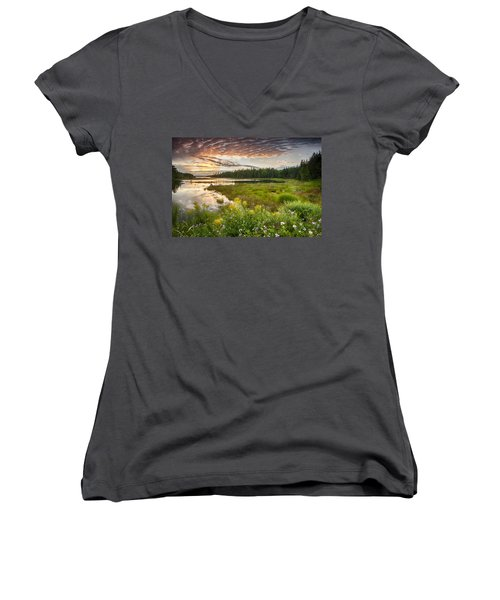 Women's V-Neck T-Shirt (Junior Cut) featuring the photograph Bar Harbor Maine Sunset One by Kevin Blackburn