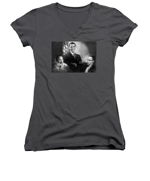 Barack Obama Martin Luther King Jr And Malcolm X Women's V-Neck T-Shirt (Junior Cut) by Ylli Haruni