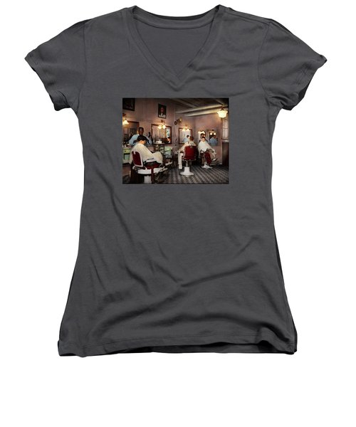 Women's V-Neck T-Shirt (Junior Cut) featuring the photograph Barber - Senators-only Barbershop 1937 by Mike Savad