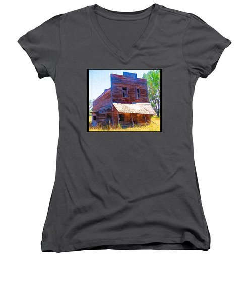 Women's V-Neck T-Shirt (Junior Cut) featuring the photograph Barber Store by Susan Kinney