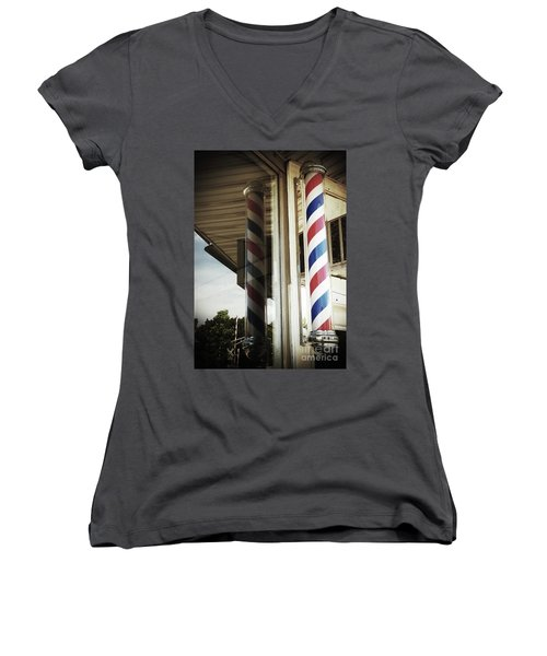 Barbershop Pole Women's V-Neck (Athletic Fit)