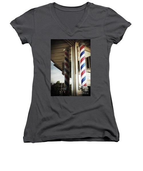 Barbershop Pole Women's V-Neck T-Shirt