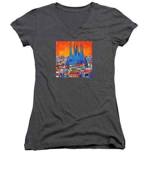 Barcelona Abstract Cityscape 7 - Sagrada Familia Women's V-Neck T-Shirt (Junior Cut) by Ana Maria Edulescu