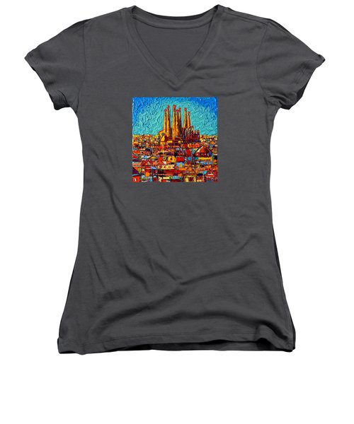 Barcelona Abstract Cityscape - Sagrada Familia Women's V-Neck