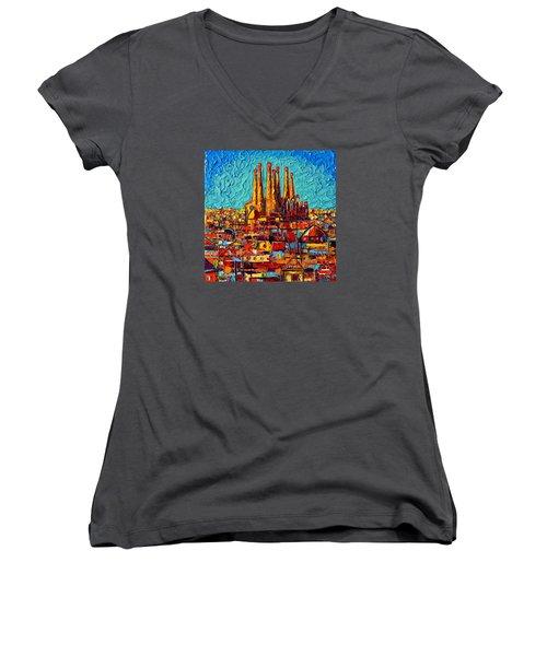 Barcelona Abstract Cityscape - Sagrada Familia Women's V-Neck (Athletic Fit)