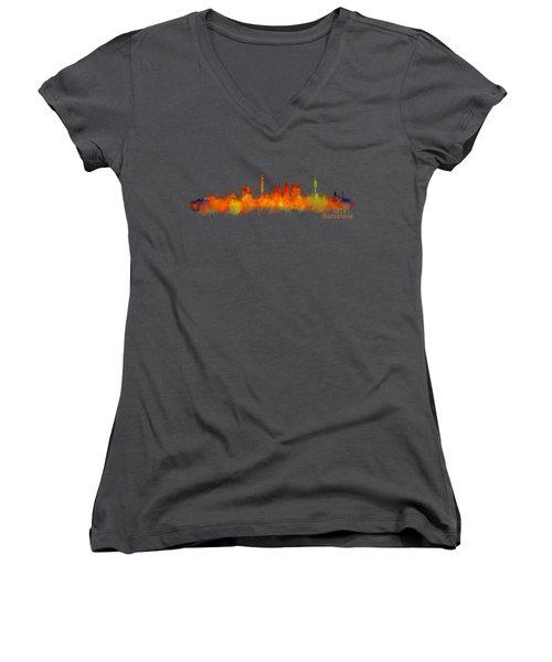 Barcelona City Skyline Hq V2 Women's V-Neck T-Shirt (Junior Cut)