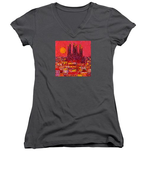 Barcelona Moon Over Sagrada Familia - Palette Knife Oil Painting By Ana Maria Edulescu Women's V-Neck T-Shirt (Junior Cut) by Ana Maria Edulescu