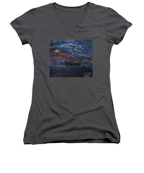 Women's V-Neck T-Shirt (Junior Cut) featuring the pastel Barco Negro- Tribute To Amalia Rodrigues by AmaS Art