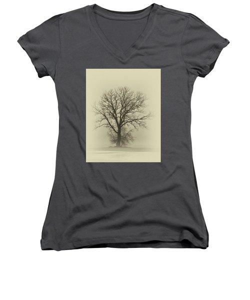 Bare Tree In Fog- Nik Filter Women's V-Neck T-Shirt (Junior Cut) by Nancy Landry