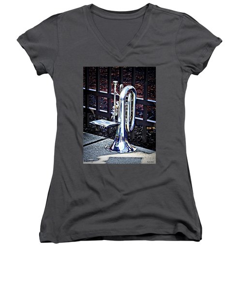 Baritone Horn Before Parade Women's V-Neck (Athletic Fit)