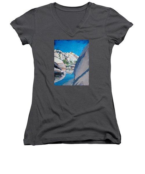 Barker Dam Women's V-Neck T-Shirt (Junior Cut) by Richard Willson