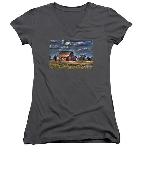 Women's V-Neck T-Shirt (Junior Cut) featuring the photograph Barn After Storm by Jim and Emily Bush