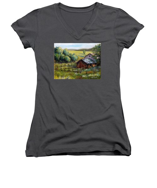 Barn And Field Women's V-Neck (Athletic Fit)