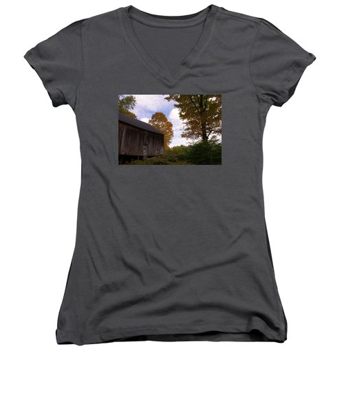 Women's V-Neck T-Shirt (Junior Cut) featuring the photograph Barn In Fall by Lois Lepisto