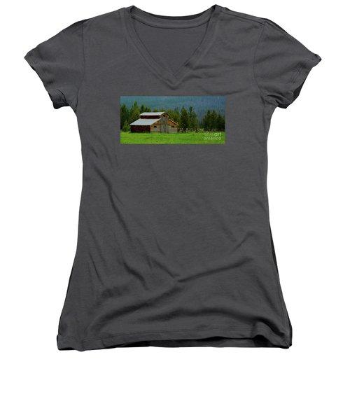 Barn In Rocky Mtn National Park Women's V-Neck T-Shirt (Junior Cut) by John Roberts