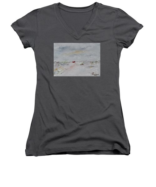Women's V-Neck T-Shirt featuring the painting Barn In Winter by Judith Rhue