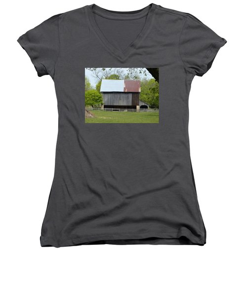 Women's V-Neck T-Shirt (Junior Cut) featuring the photograph Barn Of Fair Hill by Donald C Morgan