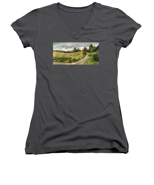 Barn On The Ridge In West Newbury Vermont Women's V-Neck (Athletic Fit)