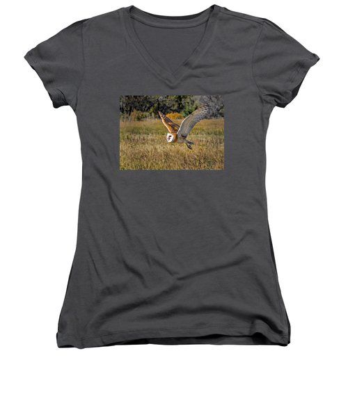 Barn Owl Flight 6 Women's V-Neck (Athletic Fit)