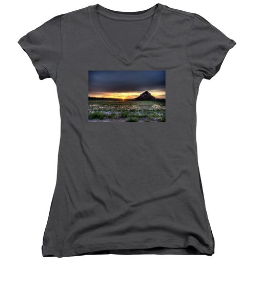 Women's V-Neck T-Shirt (Junior Cut) featuring the photograph Barn Sunrise by Jim and Emily Bush