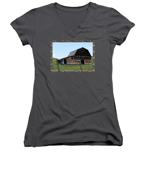 Women's V-Neck T-Shirt (Junior Cut) featuring the photograph Barn by Susan Kinney