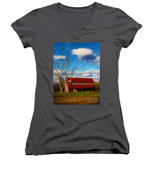Red Roof Barn 2 Women's V-Neck (Athletic Fit)