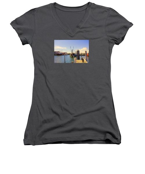 Women's V-Neck T-Shirt (Junior Cut) featuring the photograph Barnegat Light Fishing Fleet by John Rivera