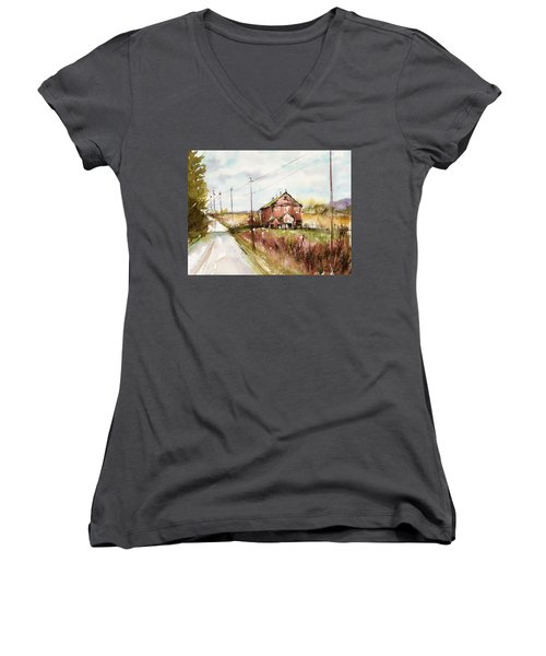Barns And Electric Poles, Sunday Drive Women's V-Neck (Athletic Fit)