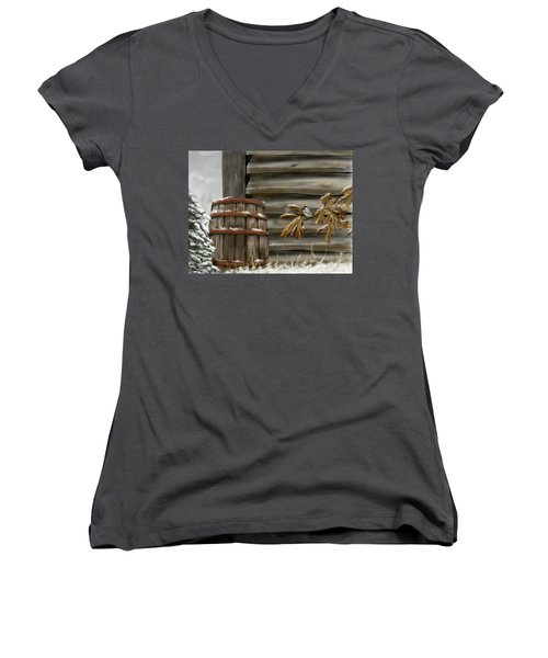 Women's V-Neck T-Shirt featuring the digital art Barnyard Barrel And Chickadee by Darren Cannell