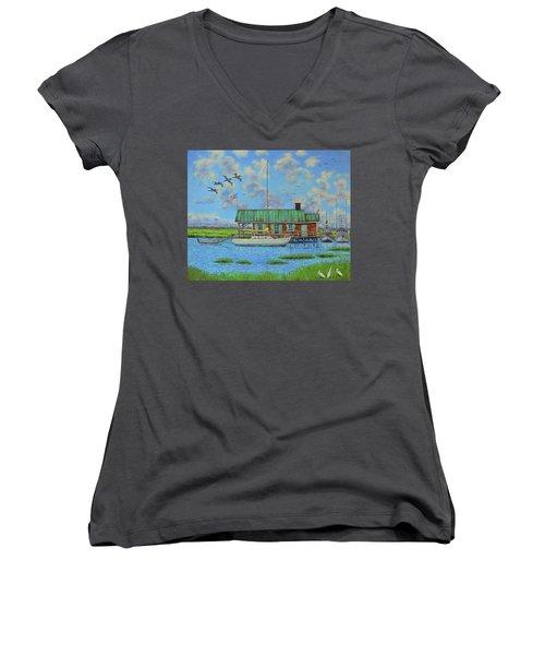 Barriar Island Boathouse Women's V-Neck T-Shirt (Junior Cut) by Dwain Ray