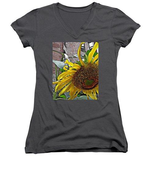 Barrio Sunflower 3 Women's V-Neck T-Shirt (Junior Cut) by Sarah Loft