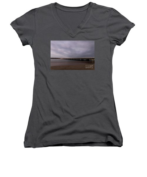 Women's V-Neck T-Shirt featuring the photograph Barwon Heads Bridge by Linda Lees