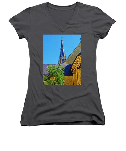 Basilica Of The Sacred Heart Notre Dame Women's V-Neck T-Shirt (Junior Cut) by Dan Sproul