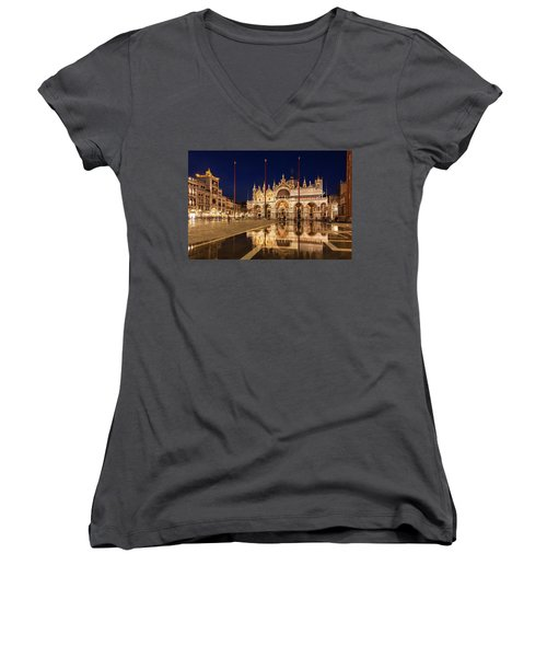 Basilica San Marco Reflections At Night - Venice, Italy Women's V-Neck (Athletic Fit)