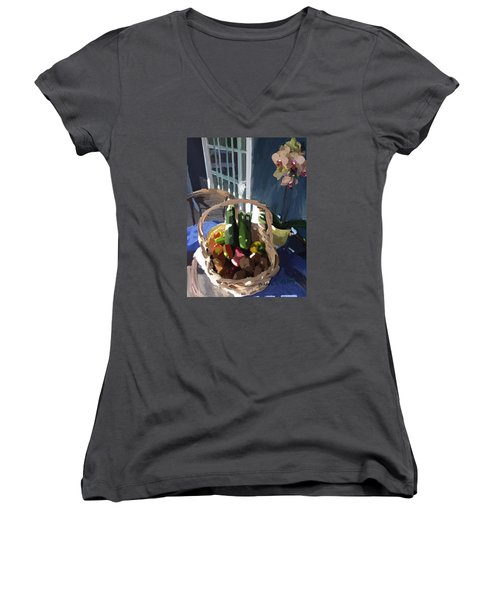 Basket Of Veggies And Orchid Women's V-Neck T-Shirt