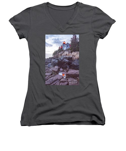 Bass Harbor Light Reflection Women's V-Neck (Athletic Fit)