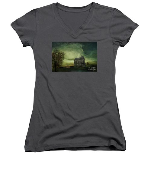 Women's V-Neck T-Shirt (Junior Cut) featuring the mixed media Bates Residence by Jim  Hatch