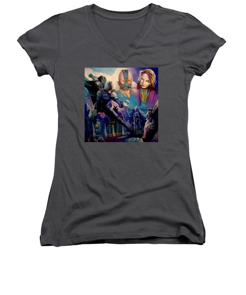 Batman Women's V-Neck T-Shirt (Junior Cut) by Paul Weerasekera