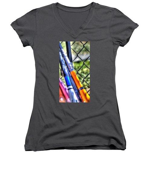 Bats 1802 Women's V-Neck T-Shirt (Junior Cut) by Jerry Sodorff