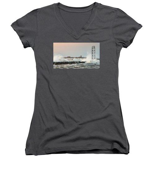 Battering The Shark River Inlet Women's V-Neck T-Shirt (Junior Cut) by Gary Slawsky