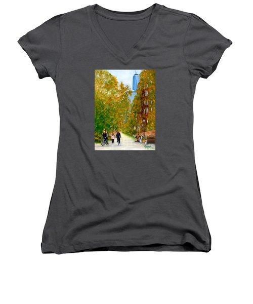Battery Park City Ny Women's V-Neck T-Shirt