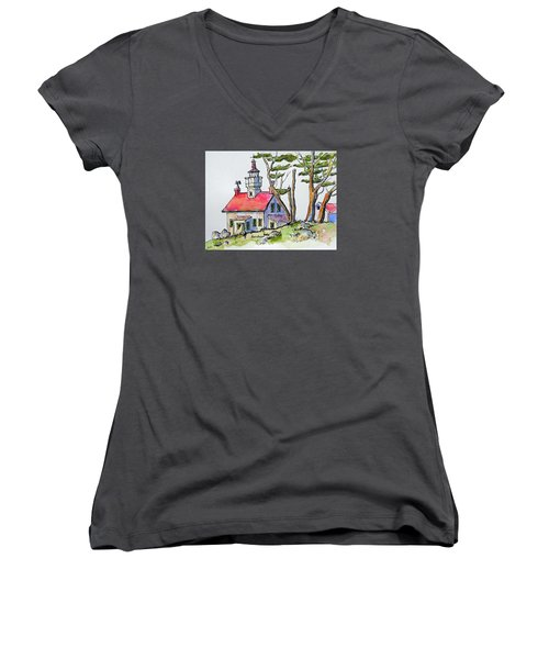 Women's V-Neck T-Shirt (Junior Cut) featuring the painting Battery Point Lighthouse by Terry Banderas