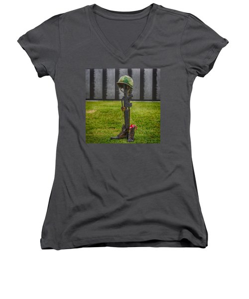 Battle Field Cross At The Traveling Wall Women's V-Neck (Athletic Fit)