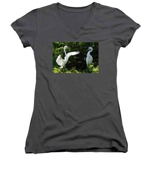 Battle Of The Egrets Women's V-Neck