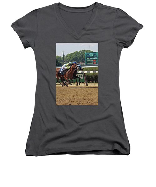 Battle To The Finish Women's V-Neck T-Shirt
