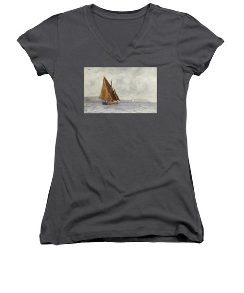 Women's V-Neck T-Shirt (Junior Cut) featuring the painting Bawley Running Up The Coast by Henry Scott Tuke