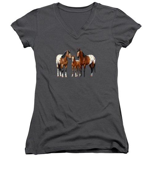 Bay Appaloosa Horses In Winter Pasture Women's V-Neck